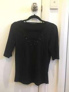 Black knitted lace up top (size m)