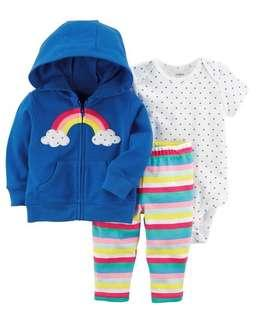 *24M Brand New Instock Carter's 3 Pc Little Jacket Set Rompers Onesies Bodysuit Pants Girls