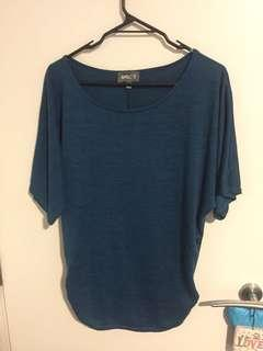 Blue top, short sleeves size M