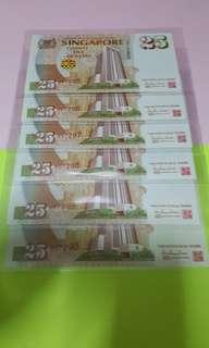 $25- COMMERATIVE NOTES 6PCS RUNNING GEM UNC WITH FOLDER.