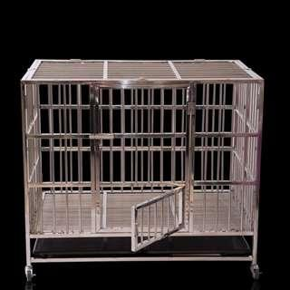 XL New Stainless Steel Foldable Adjustable Pet Cat Dog Cage MiniDoor Feed Bowl