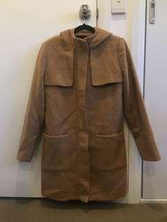 Forever 21 Camel hooded jacket/trench coat size M
