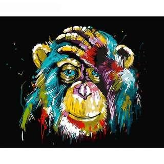 Art Therapy | DIY Painting By Number | Baboon | Frameless/Canvas Only