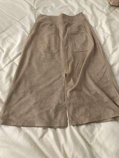 Seed skirt suede khaki