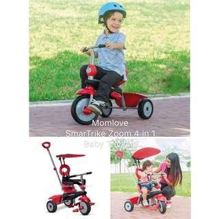 Ready Stock ! Brand New in Box SmarTrike Zoom 4 in 1 Baby Tricycle Red For Baby/Toddler/Children 10-36m *Best Birthday Gift Present for Children/Kids/Toddler Boy Girl* *USA Imported*