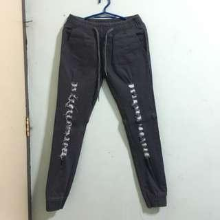 Dark Gray Distressed Jogger Jeans