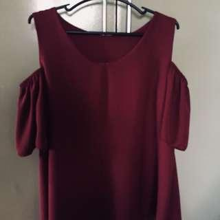 Semi Off Shoulder Chiffon Top