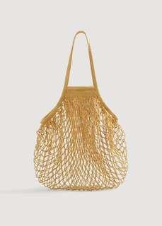 MNG Mango Mesh Net Bag in Mustard - NWT