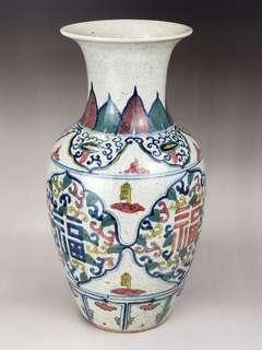 五彩褔壽吉祥纹花瓶