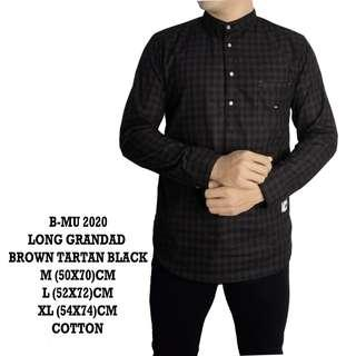 bajukecee - Kemeja Panjang Brown Tartan Black