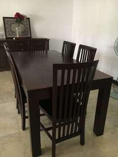 Teak Wood 6 Seater Dining Set