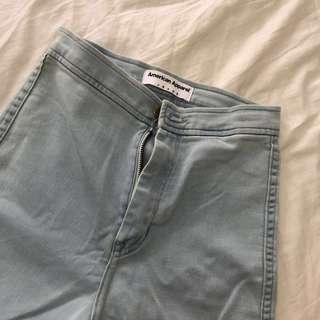 authentic american apparel highwaisted light blue jeggings