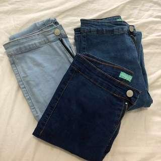 blue highwaisted jeggings
