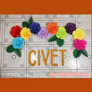 CIVET styro name with paper flowers