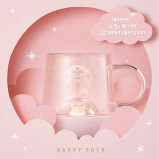 Rare Limited Edition 1st Ever LED Glass Mug from Starbucks Korea New Year Flying Dream Pig 2019