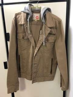 [99%新]Guess杏色外套連帽Hooded Jacket (可拆式)