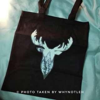 🚚 Deer Head Black Canvas Tote Bag