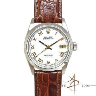 Rolex Oysterdate Precision Ref 6466 Roman Dial Boy Size Winding Vintage Watch