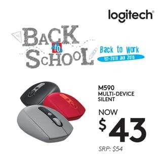 Logitech M590 Silent Bluetooth Mouse (Graphite/Mid-Grey/Ruby)