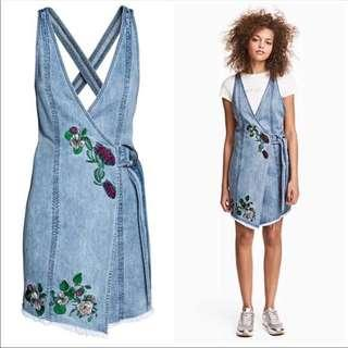 Embroidered Denim Wrap Dress H&M Loves Coachella 2017 Official Collection