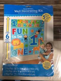 Wall decorating kit for 1 years old birthday