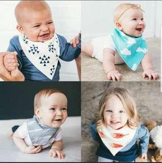 🚚 4pcs Stylish Baby Bandana Bib Burp Cloth