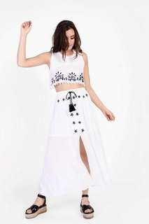 Topshop Embroidered Maxi Skirt