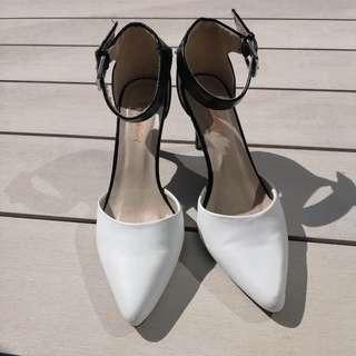 White&Black strap heels