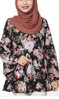 Floral babydoll black top