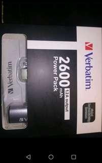 全新銀色Verbatim 2600mAh流動充電器