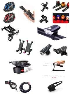 Bicycle lock , bicycle phone holder , bicycle bell,bicycle pegs,bicycle foot stand,Bicycle light,bicycle headlight,bicycle rear light, bicycle helmets, electric horn,portable bicycle air pump, bicycle water bottle holder