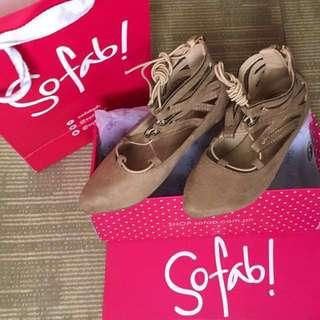 Sofab Lace Up Ballerinas
