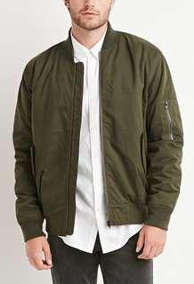 f21 men's army green bomber jacket