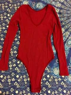 Bnwot Maroon Dark Cherry Red Ribbed Bodysuit Size S