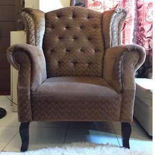 Brown Velvet Lounge Chair