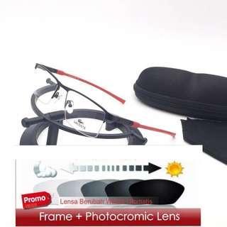 Lensa photocromic frame kacamata pria wanita