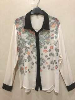 For Me Sheer Floral Print Blouse