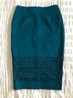 Laser cut skirt teal