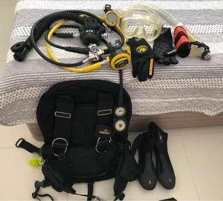 Set of women's dive gear