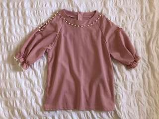 Pink cold shoulder pearl detail top