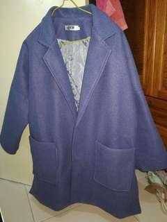 霧藍色寛身Coat