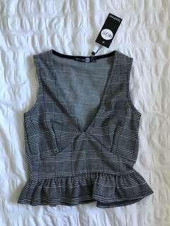 Checked grey deep v top