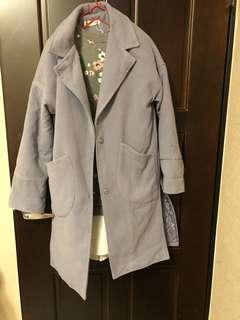🚚 水藍開岔毛料大衣