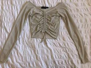Stone beige long sleeve ruched top