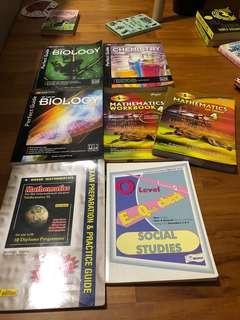 upper sec books - emath + chem + bio + social studies