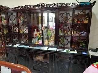 Rosewood Display Cabinet. Length 2.3m