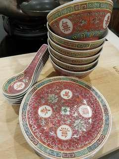 Red Jingdezhen Plates, Spoons and Bowls