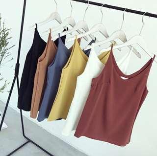 🚚 (7col) chiffon v neck basic blouse spag top