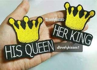 HIS QUEEN HER KING PATCHES IRON ON