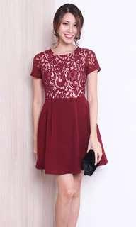 Portia Lace Bodice Sleeved Skater Dress